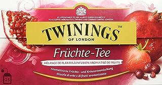 Twinings Früchte-Tee, Ein erfrischender Früchtetee mit fruchtigen Aromen von Moosbeere, Granatapfel und Erdbeere, Tea. 25 Teebeutel x 2g, 50g, 3er Pack 3 x 50 g