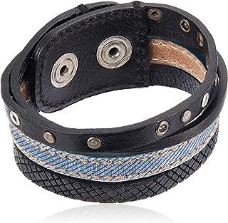 A-MUSED Multiple-Strand Leather/Denim Unisex Cuff Bracelet
