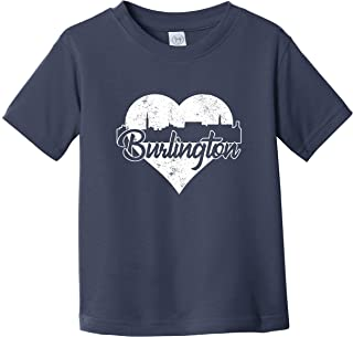 Really Awesome Shirts Retro Burlington Vermont Skyline Heart Distressed Infant Toddler T-Shirt