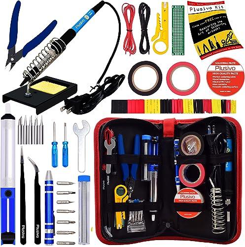 Soldering Iron Kit - Soldering Iron 60W Adjustable Temperature, Solder Wire, Soldering Stand, Wire Cutter, Solder Tip...