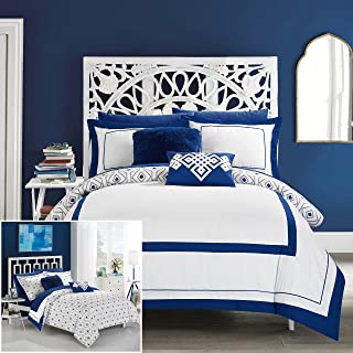 Chic Home 9 Piece Beckham Contemporary Geometric Reversible Bold Lines Hotel Collection Bed in Bag, Blue