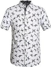 SSLR Men's Printed Cotton Casual Short Sleeve Button Down Shirts