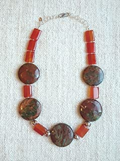 The Salome - Handmade Jewelry - Sterling Silver Necklace designed with Agate & Opal Gemstones.