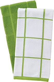 T-Fal Textiles 60937 2-Pack Solid & Check Parquet Design 100-Percent Cotton Kitchen Dish Towel, Green, Solid/Check-2 Pack