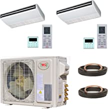 YMGI Dual Zone - 27000 BTU 21 SEER 2.25 Ton (9K+18K) Ceiling Suspension Ductless Mini Split Air Conditioner with Heat Pump for Home, Office, Shops with 25 Ft Lineset installation Kits