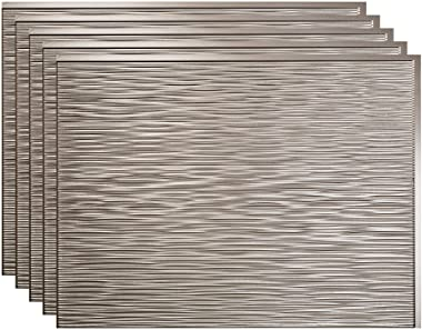 FASÄDE Ripple Decorative Vinyl 18in x 24in Backsplash Panel in Brushed Nickel (5 Pack)