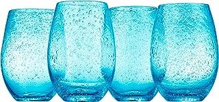 Artland Iris Stemless Glasses, Turquoise, Set of 4