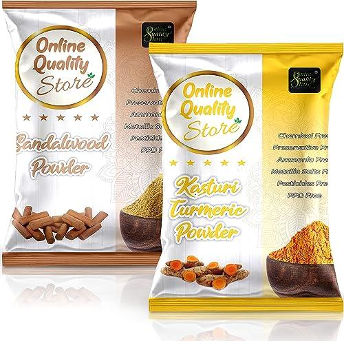 Online Quality Store Kasturi Turmeric Powder for Face + Pure Organic Sandalwood Powder For Skin Whitening(Pack of 2, ...