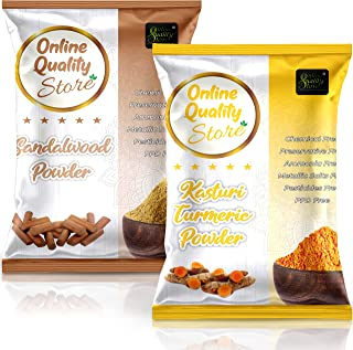 Online Quality Store Kasturi Turmeric Powder for Face + Pure Organic Sandalwood Powder For Skin Whitening(Pack of 2, 100g ...