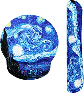 Van Gogh Starry Night Ergonomic Design Mouse Pad with Wrist Rest Hand Support and Keyboard Support. Round Large Mousing Ar...