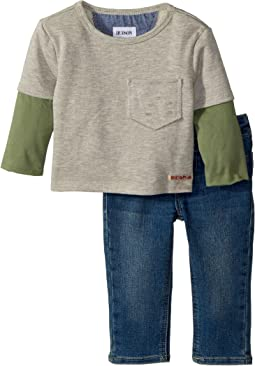 Hudson Kids - Two-Piece French Terry Pullover Sweatshirt w/ Knit Denim Pants (Infant)