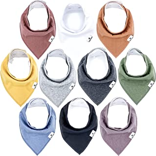 Little Munchkins 10 Pack Solid Color Baby Bandana Drool Bibs for Boys, Unisex - Organic Cotton - Absorbent - Soft- Teethin...