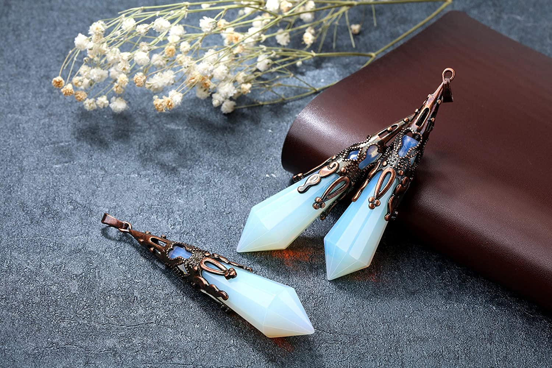 Top Plaza 12 Facet Natural Healing Crystal Stone Necklace Antique Bronze Gemstone Point Pendulum Necklaces Reiki Quartz Jewelry for Women