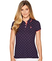 U.S. POLO ASSN. - Stretch Pique Dot Print Polo Shirt