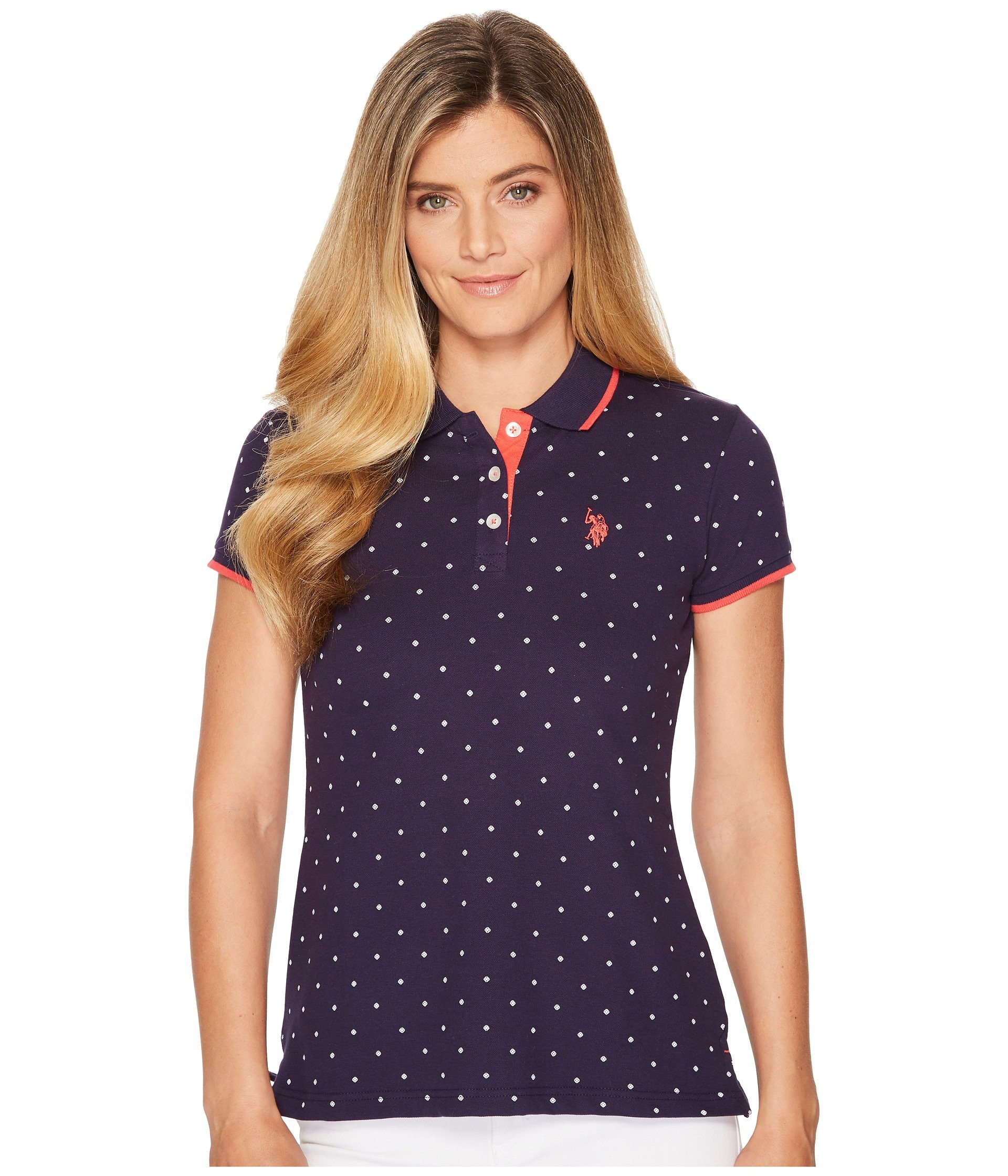 Camiseta Tipo Polo para Mujer U.S. POLO ASSN. Stretch Pique Dot Print Polo Shirt  + U.S. POLO ASSN. en VeoyCompro.net