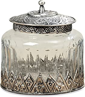 The Grand Tour Glass Storage Jar, Iconic Palmette Patterned Metal, Knob Top, Clad Bottom, Textured Glass, 4 ¾ Inches Diameter x 5 Inches Tall by Whole House Worlds