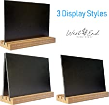 4 A-Frame Style Mini Chalkboards Signs 5.5x6, Liquid Chalk and Regular Chalk Compatible with 3 Different Display Options - Perfect for Weddings, Birthday Parties, Message Boards, Menu (Weathered Barn)