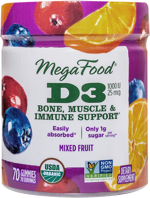 MegaFood Certified Organic D3 Wellness Chew 1000 Gummies Columbus Mall 4 years warranty Soft