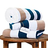 Oversize Plush Cabana Towel by Laguna Beach Textile Co | Navy and Almond Tan | 1 Classic, Beach and Pool House TowelOversize Plush Cabana Towel by Laguna ...