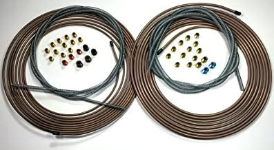 Complete Copper Nickel Brake Line Kit. 25 ft of 1/4 and 3/16 Rolls/Coils w Fittings /8 ft of 3/16