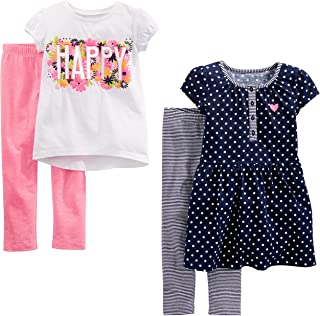 Simple Joys by Carter's Toddler Girls' 4-Piece Short-Sleeve Dress, Top, and Pants Playwear Set