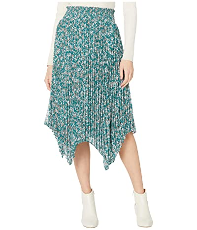 1.STATE Woodland Floral Handkerchief Hem Midi Skirt (Veridian Emerald Multi) Women