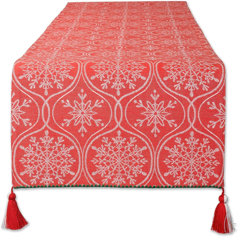 DII Joyful Virginia Beach Mall Max 90% OFF Snowflakes Jacquard Table Kitchen Runner Collection