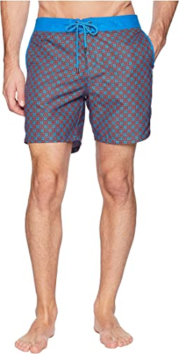 Circles Fixed Waist Printed Modern Boardshorts