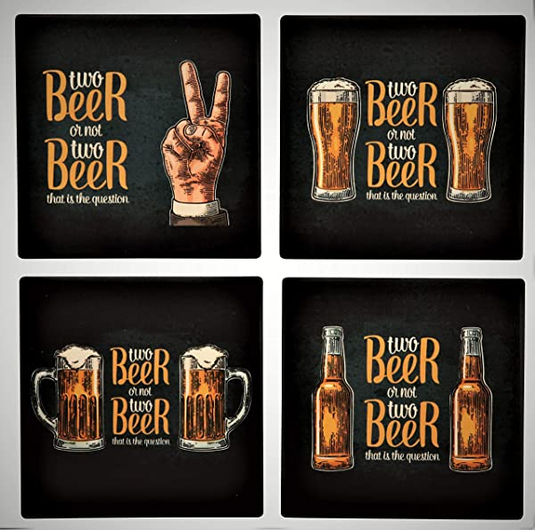 Planet Ethnic Funny Quote Beer And Drinks Designer Ceramic Coaster Set 4 Coasters Each Almost 4 X 4 Inches With Matching Dark Wooden Coaster Holder And A Beautiful I Love Beer Gift Box