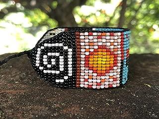 Beaded Chakana Inca Cross, Sun and Moon Beaded Bracelet