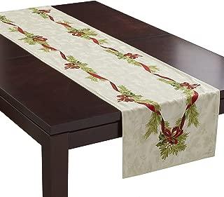 Benson Mills Christmas Ribbons Engineered Printed Fabric Table Runner, 16
