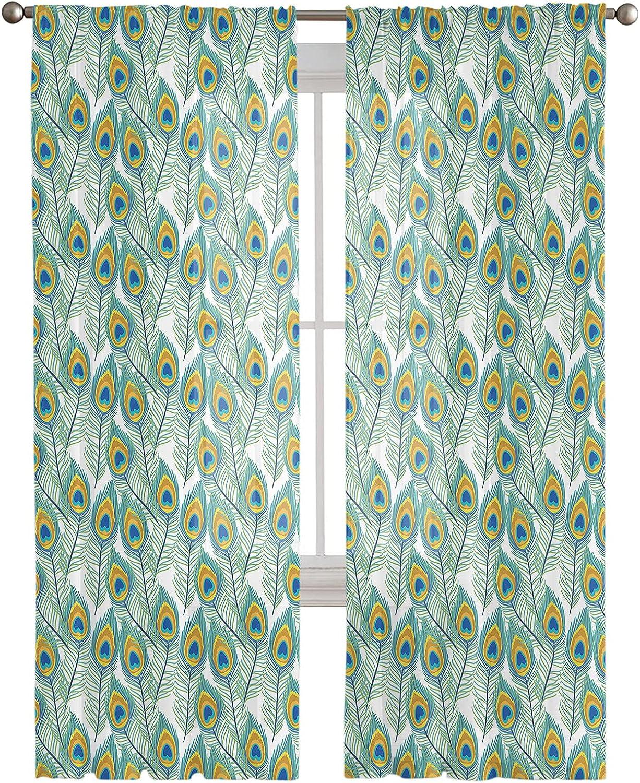 Rod Pocket Semi Sheer Curtains Peacock Green Feathers Topics on TV Max 78% OFF Beautiful