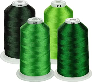 Simthread 42 Options Various Assorted Color Packs of Polyester Embroidery Machine Thread Huge Spool 5000M for All Embroidery Machines (Green Series)