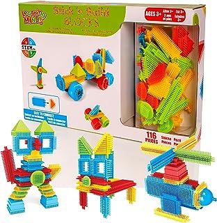 Learning Minds Stick 'n Build 116 Unidades de Bloques de construcción: apilamiento de Ladrillos Juguetes de construcción para niños pequeños para niños o niñas
