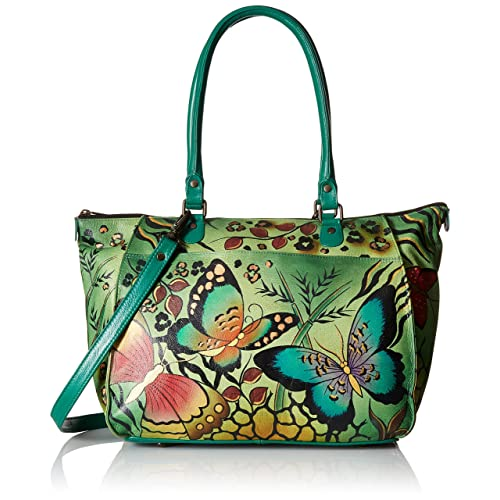 Anna by Anuschka Genuine Leather Large Tote   Hand-Painted Original Artwork    Animal Butterfly c642c29080