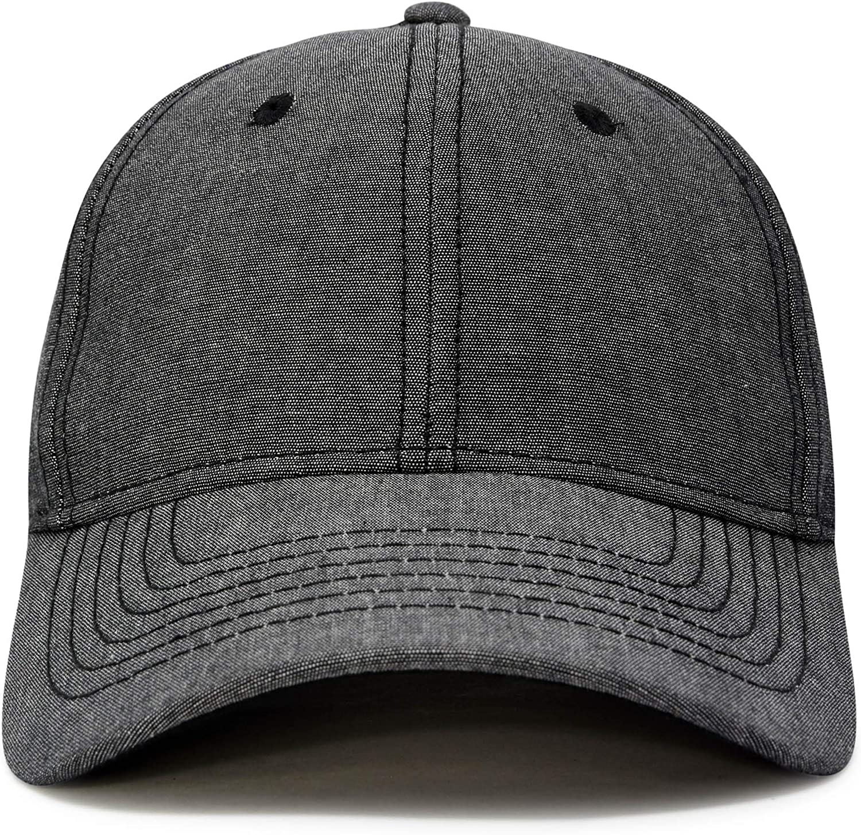 DALIX Premium Baseball Cap Structured Dad Hat Medium Crown Chambray