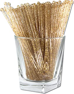 Royer Round Top Stir Sticks, Swizzle Sticks, Drink Stirrers for Holidays, Christmas, Weddings, Parties - Crystal With Gold Glitter, 6 Inch, Set of 48 - Made In USA