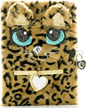 Busy Kid Plush Diary with Lock for Girls Glitter Kitty Notebook for Kids (Leopard)