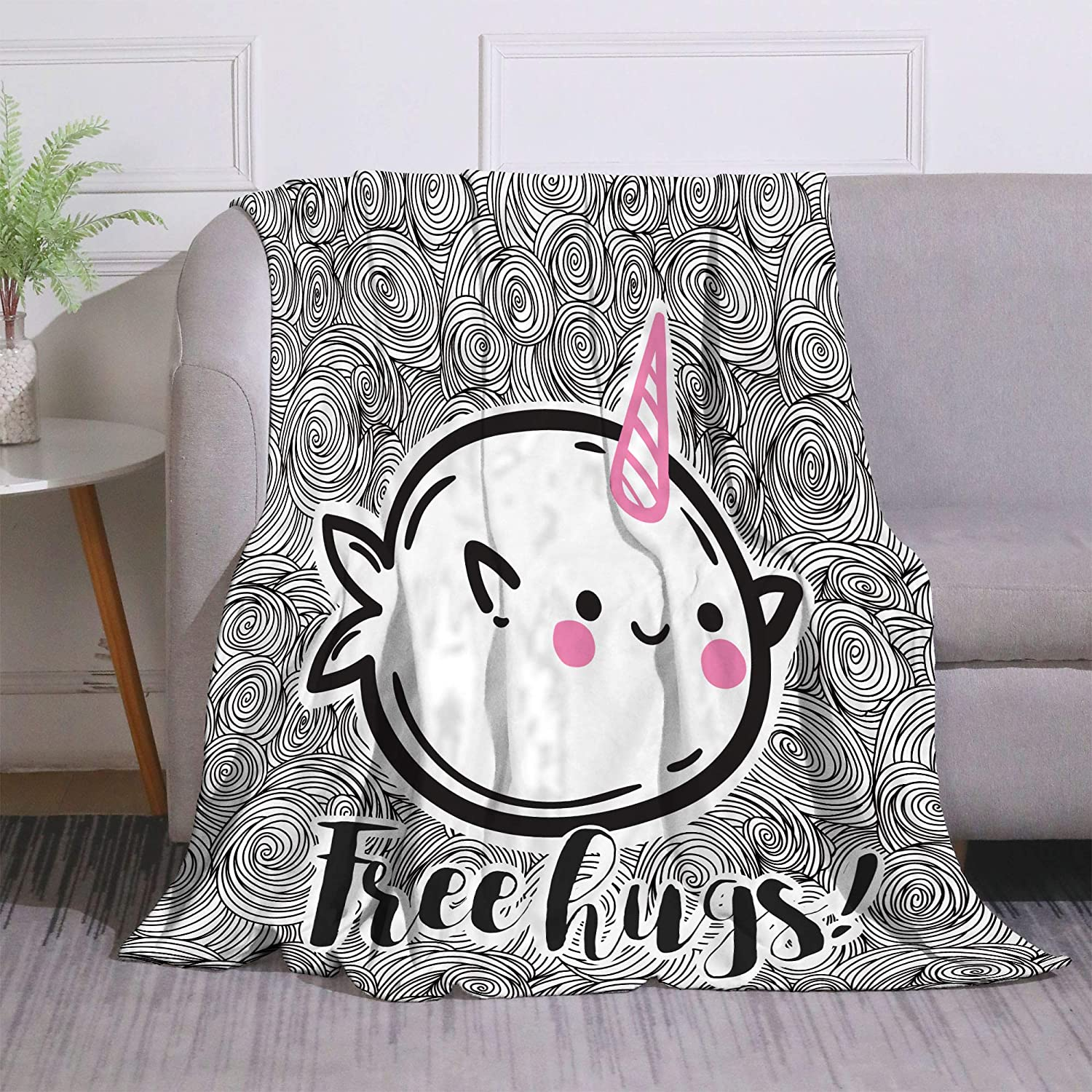 Yunine Cute Narwhal Bed 2021 model 4 years warranty Blanket for Funny Unicorn Child Fis Kids