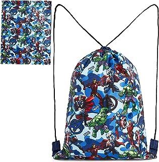 Marvel Mochila Cuerdas, Mochila Saco con Superheroes Capitan America Iron Man Thor y Hulk, Mochila Infantil de Los Vengadores para Deporte Viajes, Regalos para Niños Adolescentes