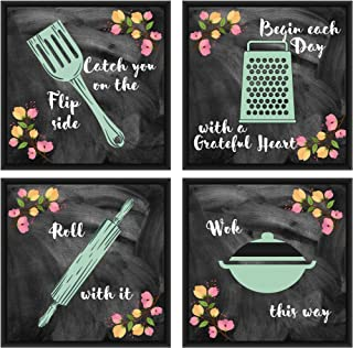 DecoDrama Kitchen Quotes (Flip Roll Wok Grateful) Wall Painting, Hanging Framed On 6mm MDF Board for Dining Room, Kitchen....