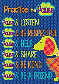 Eureka ''Practice the Pause'' Plaid Dog Themed Classroom Rules Poster Decoration for Teachers, 13'' x 19''