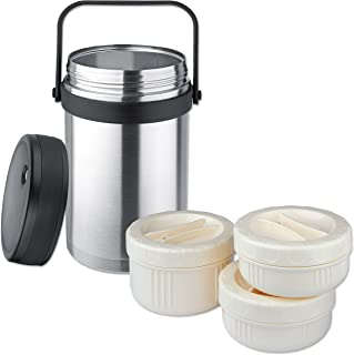 Isosteel VA-9683 1.5 liter 51 fl. oz 18/8 Stainless Steel Double-Wall Vacuum Food Container incl....