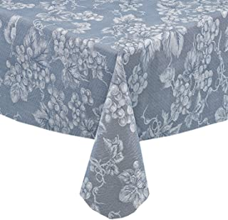 Grapevines Contemporary Grape Print Heavy 4 Gauge Vinyl Flannel Backed Tablecloth, Indoor/Outdoor Wipe Clean Tablecloth, 60 inch x 84 inch Oblong/Rectangle, Blue