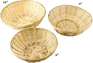 Red Co. Round Bamboo Stackable Bread Basket, Set of 3-10, 9 and 8 Inch
