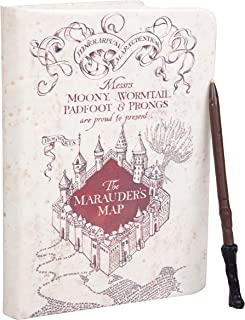 HARRY POTTER Marauder's Map Journal with Harry Wand Pen - 192 Blank Pages with Bookmark - 8.5