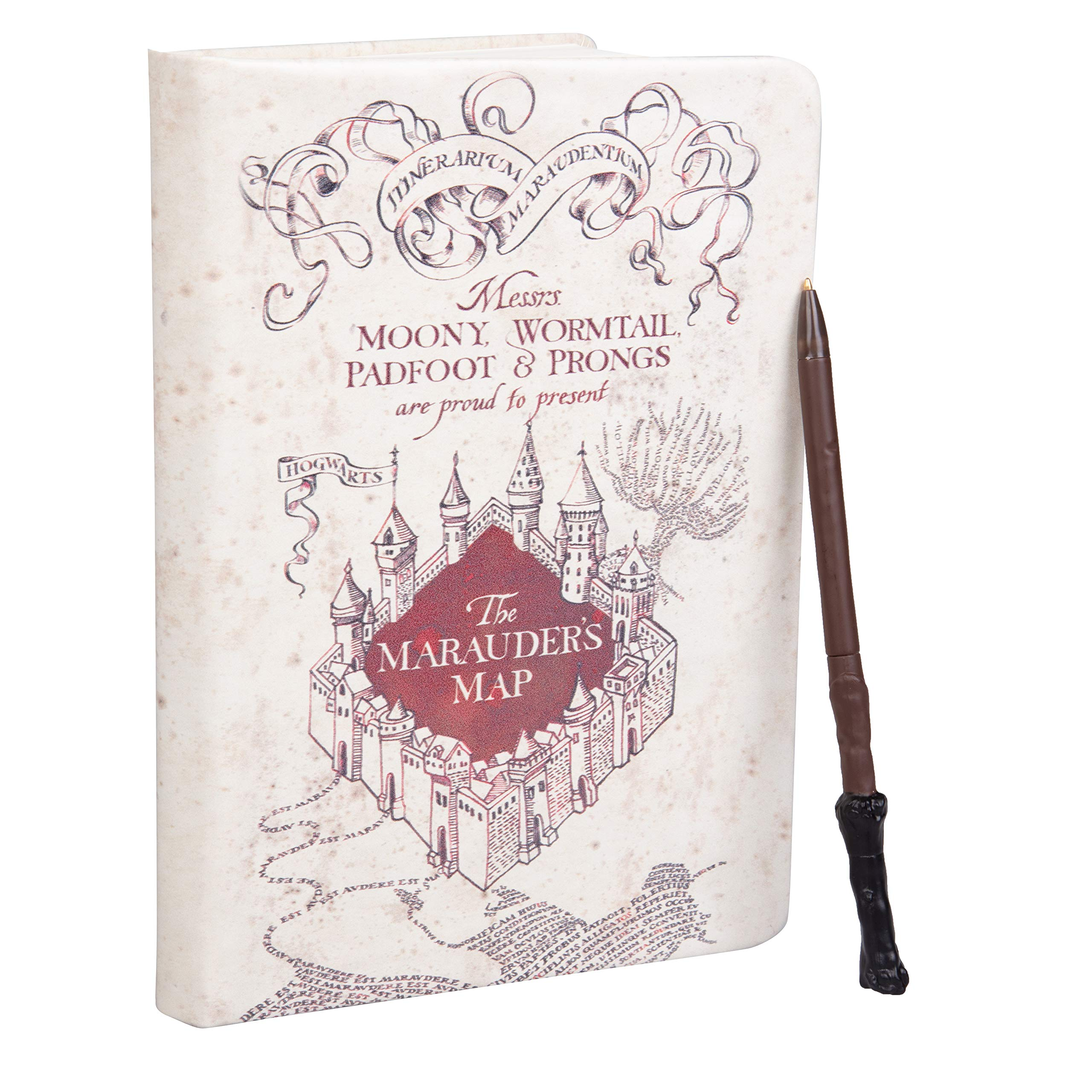 """Harry Potter Marauder's Map Journal with Harry Wand Pen - 192 Blank Pages - 8.5"""" x 6"""""""