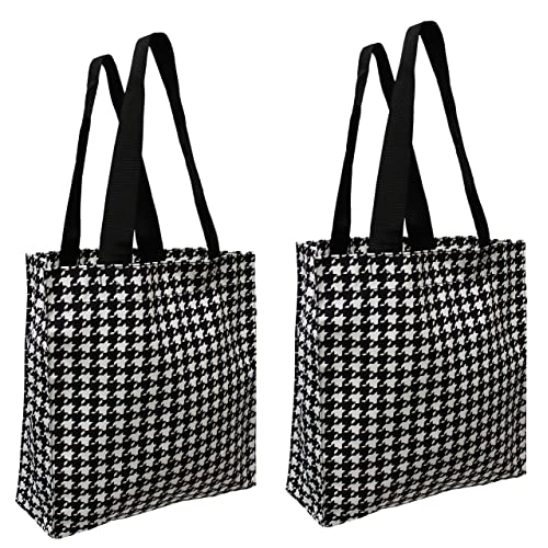 daa061bde18d Earthwise Reusable Grocery Shopping Tote Everyday Bag Houndstooth Print  Made in the USA (Set of