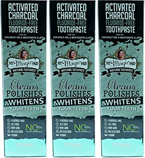 Activated Charcoal Whitening Toothpaste Spearmint (Pack of 3) with Activated Coconut Shell Charcoal, Calcium Bentonite Clay, Essential Oils and Coconut Oil 4 Oz.
