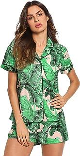 Women's Notch Collar Palm Leaf Print Sleepwear Two Piece Pajama Set